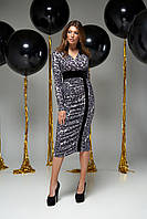 Облегающее вечернее платье женское серое с леопардовым принтом