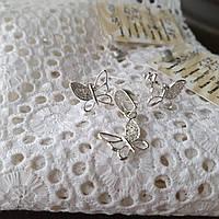 Комплект срібних прикрас Метелики з фіанітами сережки та підвісок