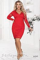 Гипюровое платье для полных Доминика красное, фото 1