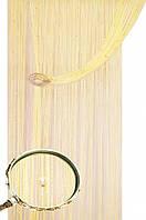Штори нитки серпанок однотонні блістер з намистинами шампань №13
