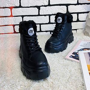 Женские ботинки зимние на толстой подошве /черные, 36-39, dr-121/