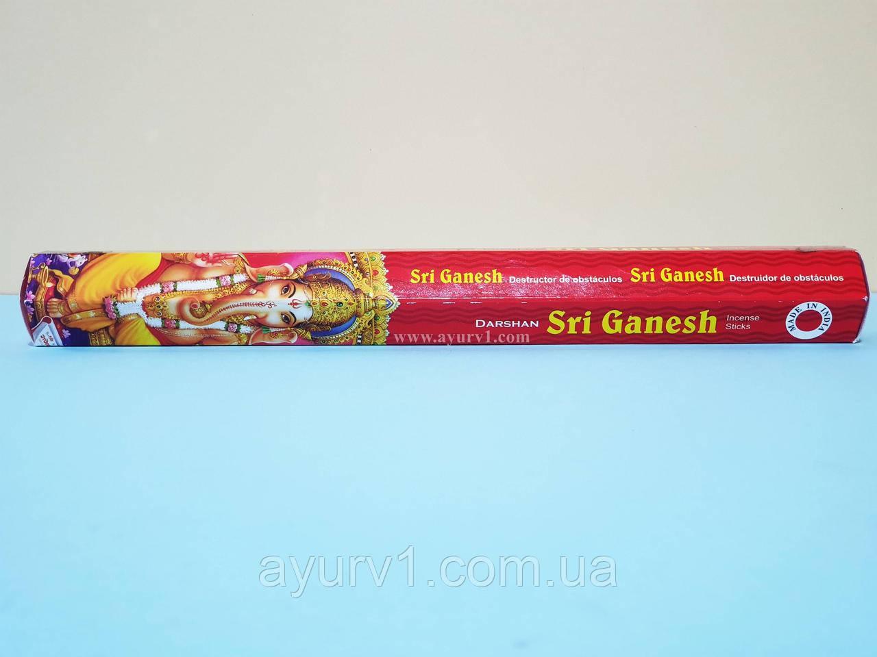 Аромапалочки Шри Ганеш, угольные / Incense Sticks Shri Ganesh / Darshan / 20 шт