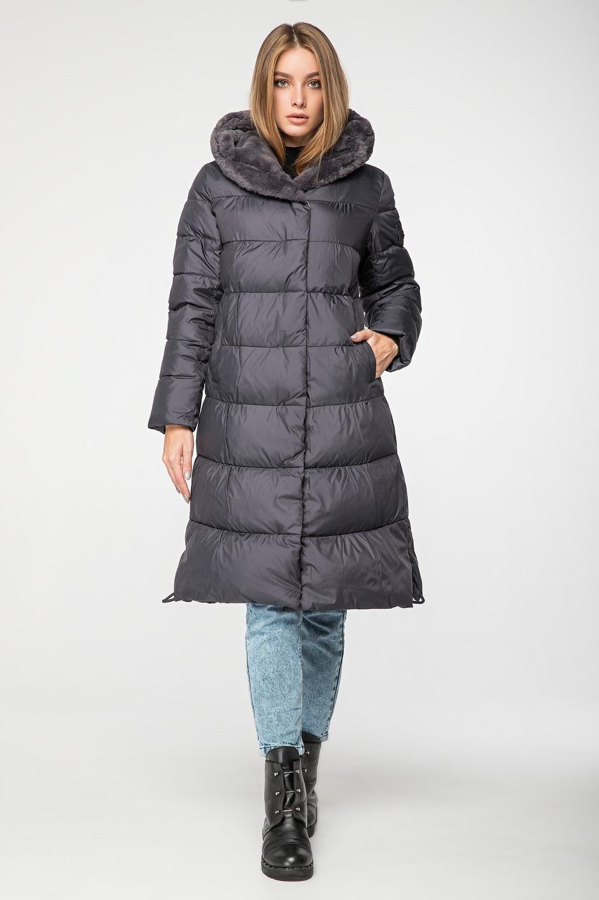 Стильная женская куртка CW19D925CQ зимняя CLASNA графит (#736)
