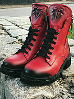 Ботинки Полусапоги Красные зимние из натуральной кожи.39