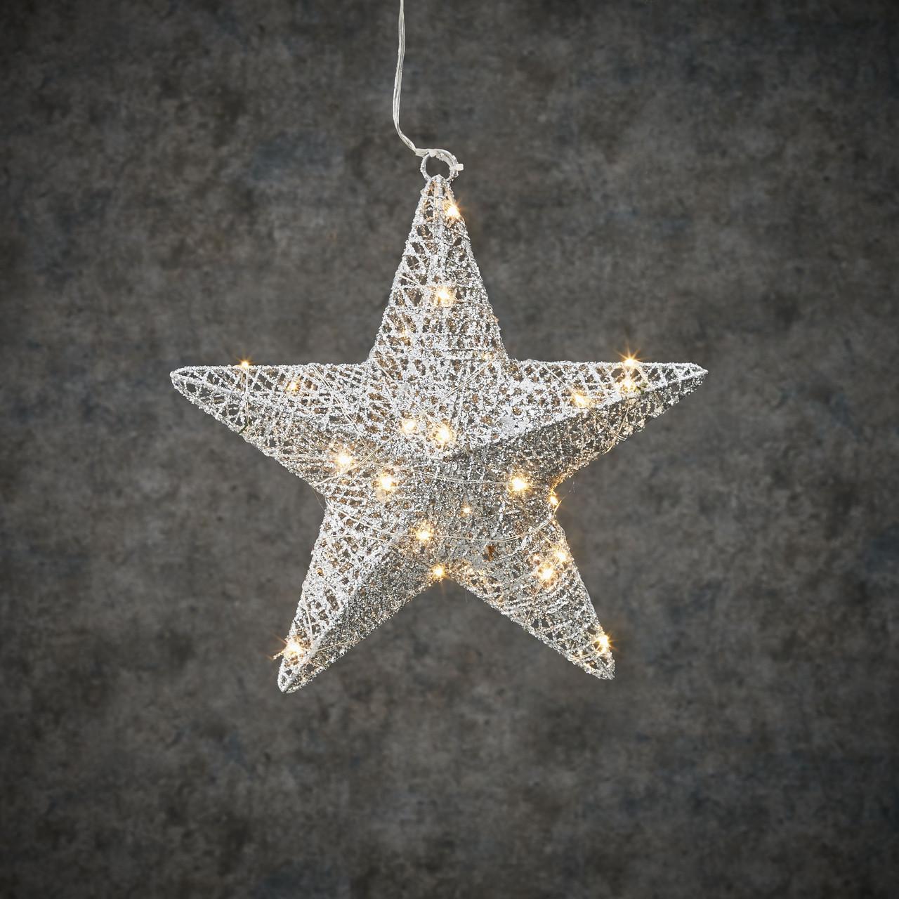 """Новогодняя светящаяся фигура Luca Lighting """"Звезда"""", 30 см, цвет серебро (новогодний декор, украшение)"""