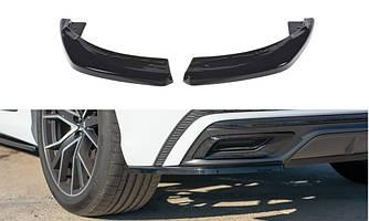 Накладки под задний бампер юбка клыки диффузор тюнинг Audi Q8 S-line