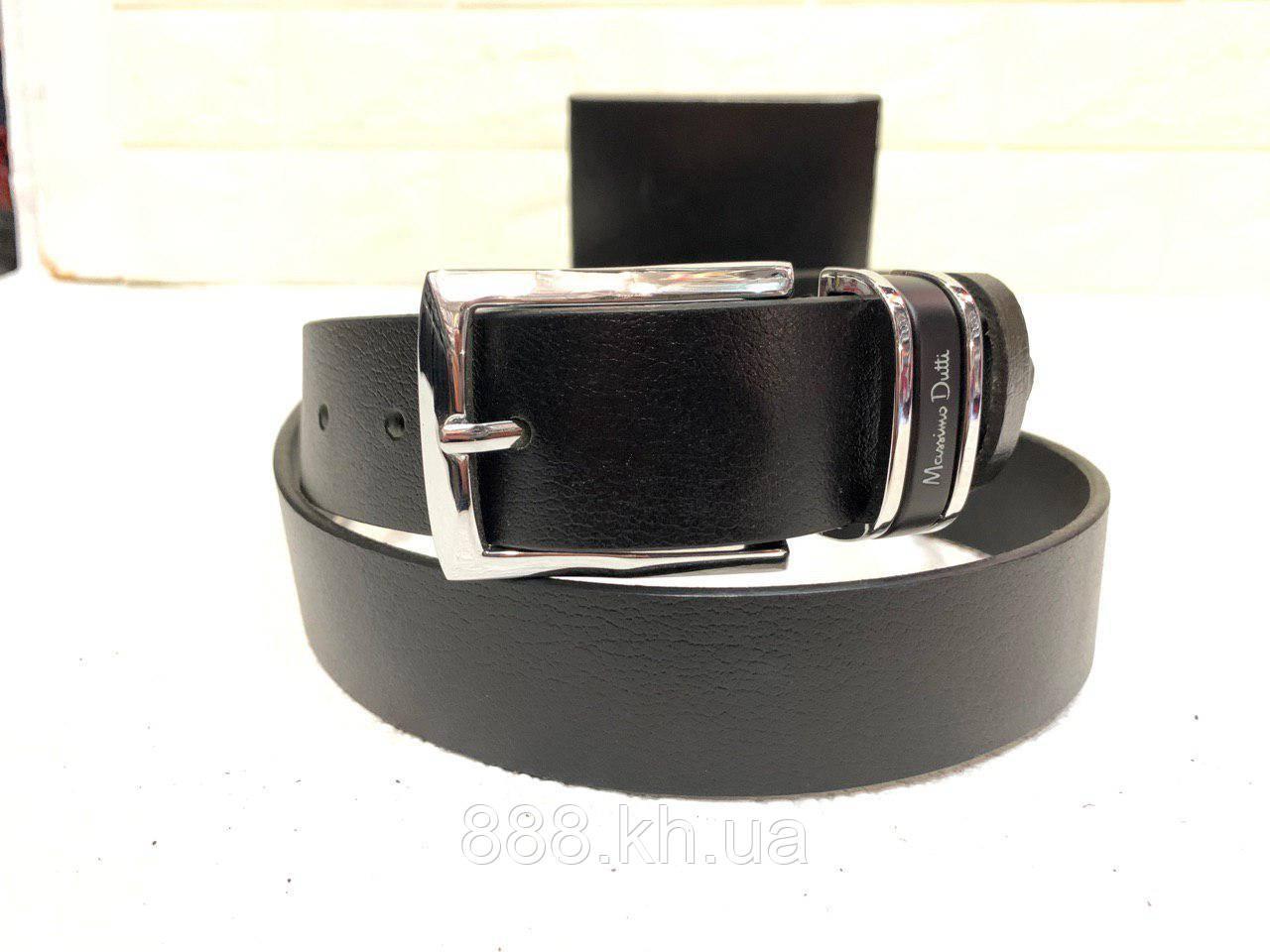 Мужской кожаный ремень Massimo Dutti, черный ремень