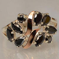 Серебряное кольцо Sil с золотыми вставками Черный (Sil-118)