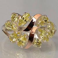 Серебряное кольцо Sil с золотыми вставками Желтый (Sil-122)