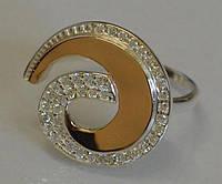 Кольцо Sil серебряное с золотом 095к 18.5 Белый (Sil-358)