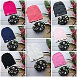 Стильні трикотажні дитячі набори шапка+хомут, снуд, фото 2