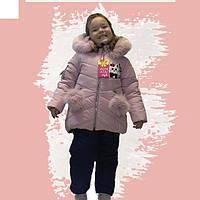 Детский зимний комбинезон на девочку Киса Размеры 80- 98