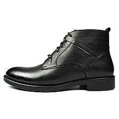 Черные зимние мужские кожаные классические ботинки MYKOS на меху ( шерсть )