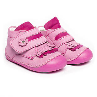 Черевики - пінетки для дівчаток, ортопедичні, шкіряні, рожеві