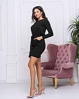 Женское ангоровое платье с поясом полуприталенного кроя черного  цвета Батал