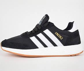 Кроссовки мужские Adidas INIKI черные-белые (Top replic), фото 2