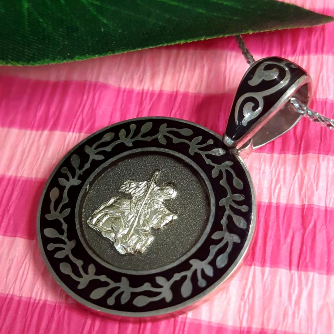 Серебряный кулон Георгий Победоносец - Серебряная мужская нательная ладанка Святой Георгий