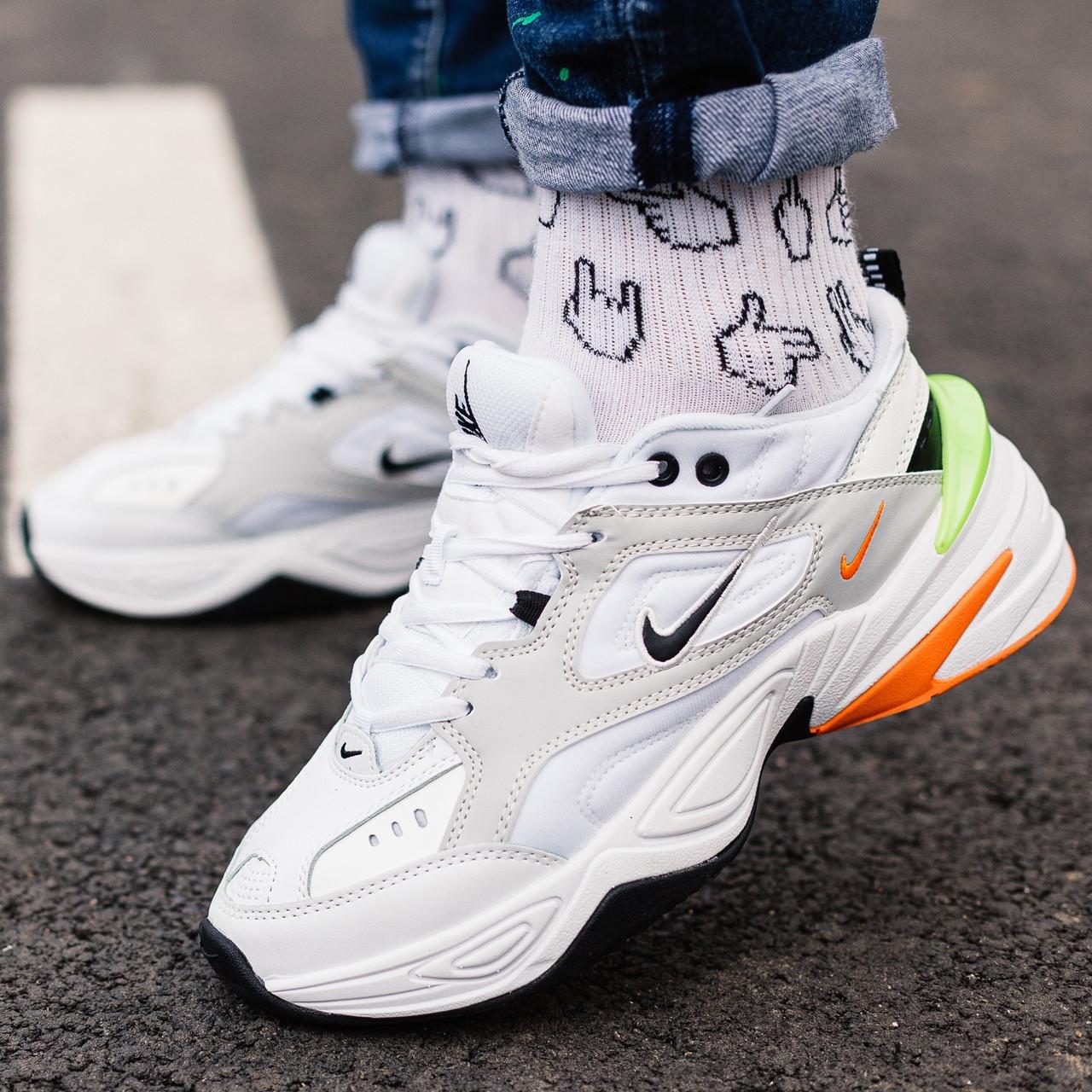 Кроссовки мужские Nike M2K Tekno белые-оранжевые-салатовые (Top replic)