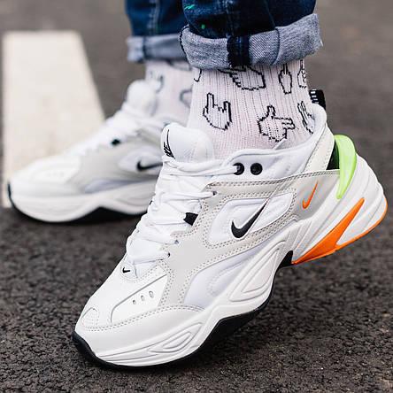 Кроссовки мужские Nike M2K Tekno белые-оранжевые-салатовые (Top replic), фото 2