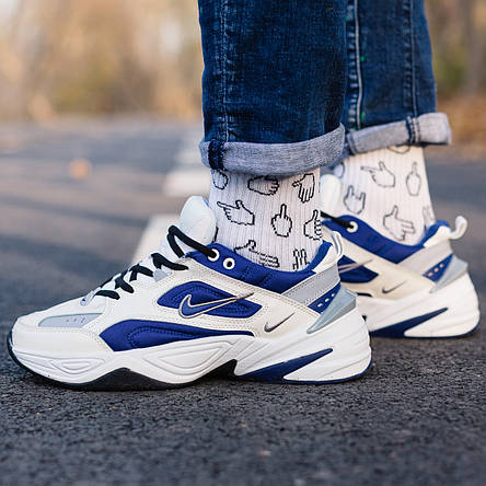 Кроссовки мужские Nike M2K Tekno белые-синие (Top replic), фото 2