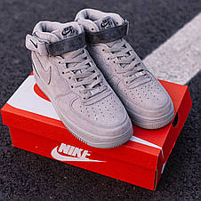 Кроссовки мужские Nike Air Force 1 Mid x Reigning Champ серые (Top replic), фото 2