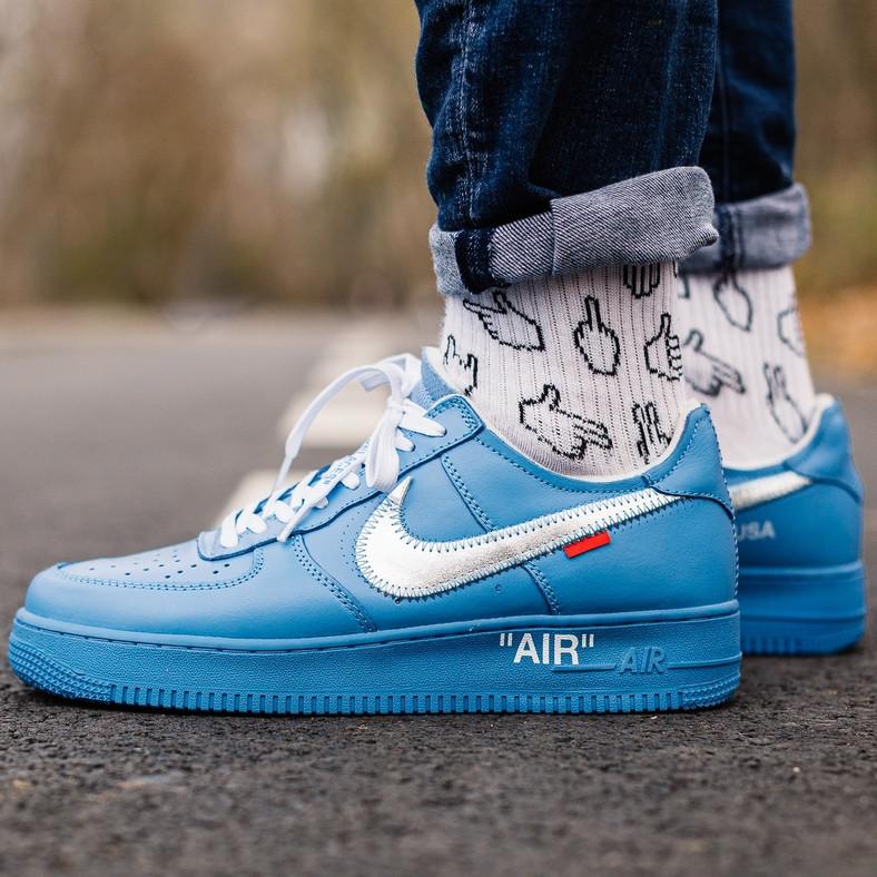 Кроссовки мужские Nike Air Force 1 x Off White синие (Top replic)