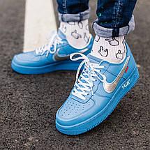 Кроссовки мужские Nike Air Force 1 x Off White синие (Top replic), фото 3