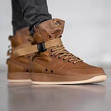 Кроссовки мужские Nike Air Force SF коричневые (Top replic), фото 2