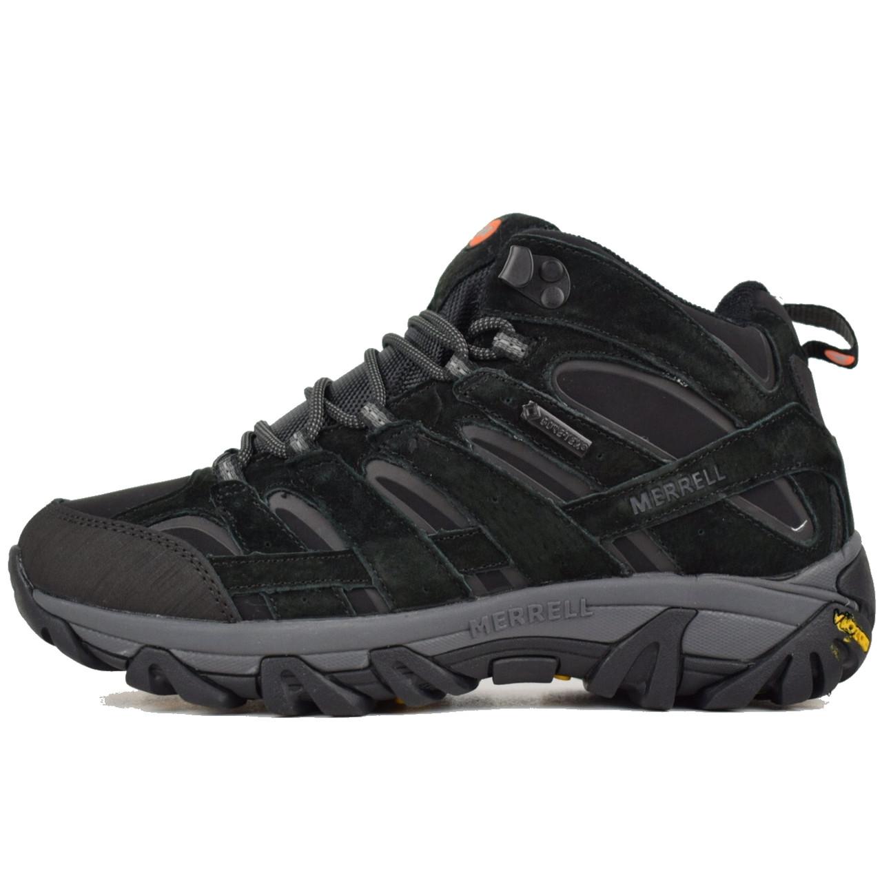 Теплые мужские кроссовки Merrell Moab (на МЕХу) Высокие черные (Top replic)