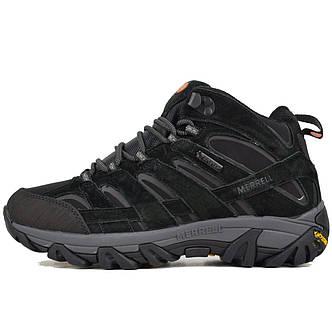 Теплые мужские кроссовки Merrell Moab (на МЕХу) Высокие черные (Top replic), фото 2