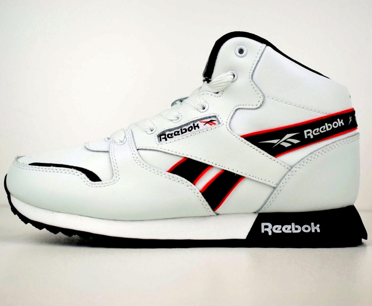 Теплые мужские кроссовки Reebok (МЕХ) высокие белые (Top replic)