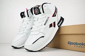 Теплые мужские кроссовки Reebok (МЕХ) высокие белые (Top replic), фото 2