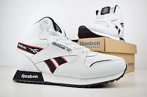 Теплые мужские кроссовки Reebok (МЕХ) высокие белые (Top replic), фото 3