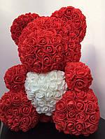 Мишка из 3D роз 40см в красивой подарочной упаковке мишка Тедди из роз оригинальный подарок девушке КРАСНЫЙ
