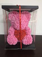 Мишка из 3D роз 40см в красивой подарочной упаковке мишка Тедди из роз оригинальный подарок девушке РОЗОВЫЙ