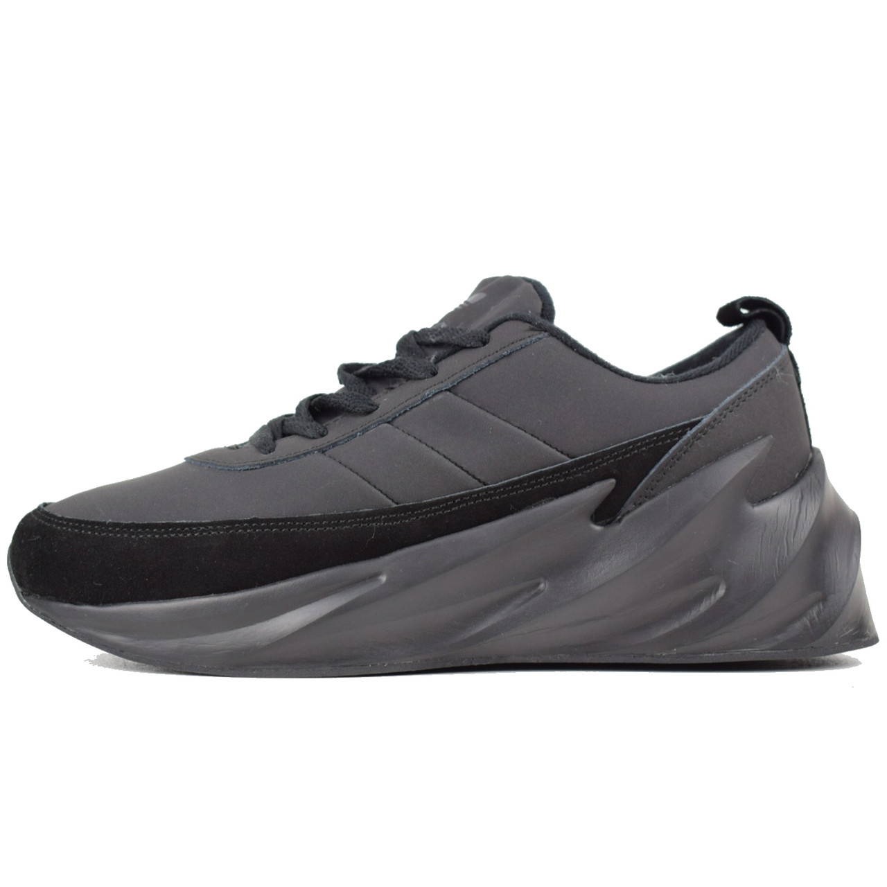 Теплые мужские кроссовки Adidas Sharks (МЕХ) черные (Top replic)