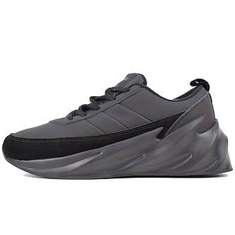 Теплые мужские кроссовки Adidas Sharks (МЕХ) черные (Top replic), фото 2