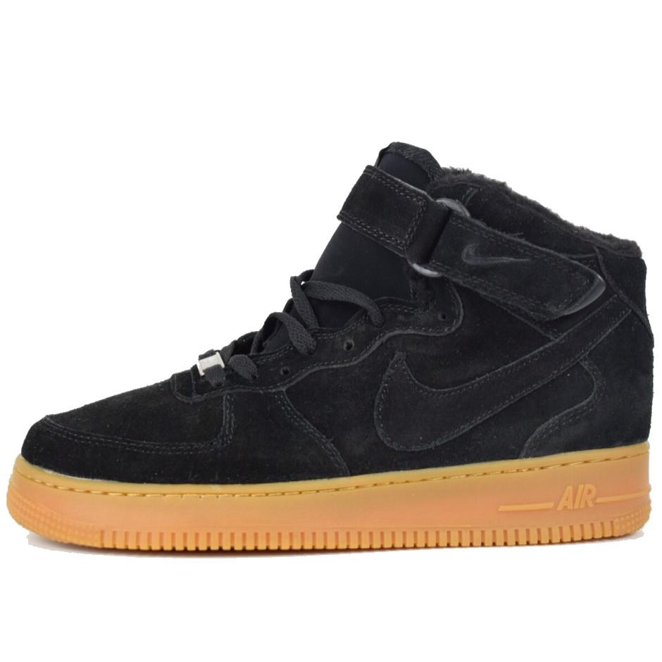 Теплые мужские кроссовки Nike Air Force (МЕХ) черные (Top replic)