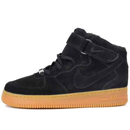 Теплые мужские кроссовки Nike Air Force (МЕХ) черные (Top replic), фото 2