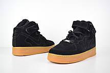 Теплые мужские кроссовки Nike Air Force (МЕХ) черные (Top replic), фото 3