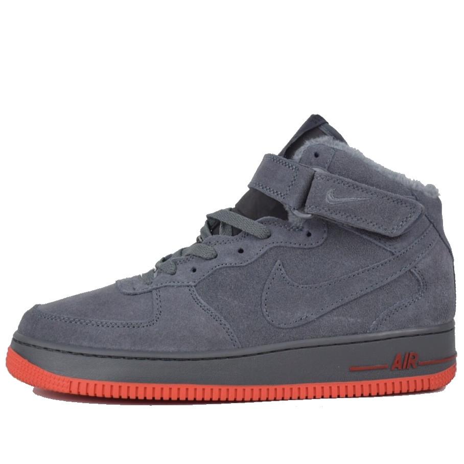 Теплые мужские кроссовки Nike Air Force (МЕХ)серые-красная подошва (Top replic)