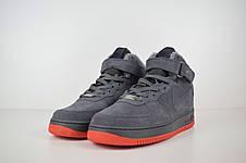 Теплые мужские кроссовки Nike Air Force (МЕХ)серые-красная подошва (Top replic), фото 2