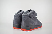 Теплые мужские кроссовки Nike Air Force (МЕХ)серые-красная подошва (Top replic), фото 3