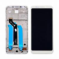Дисплей для XIAOMI Redmi 5 Plus с белым тачскрином и корпусной рамкой (ID:22826)