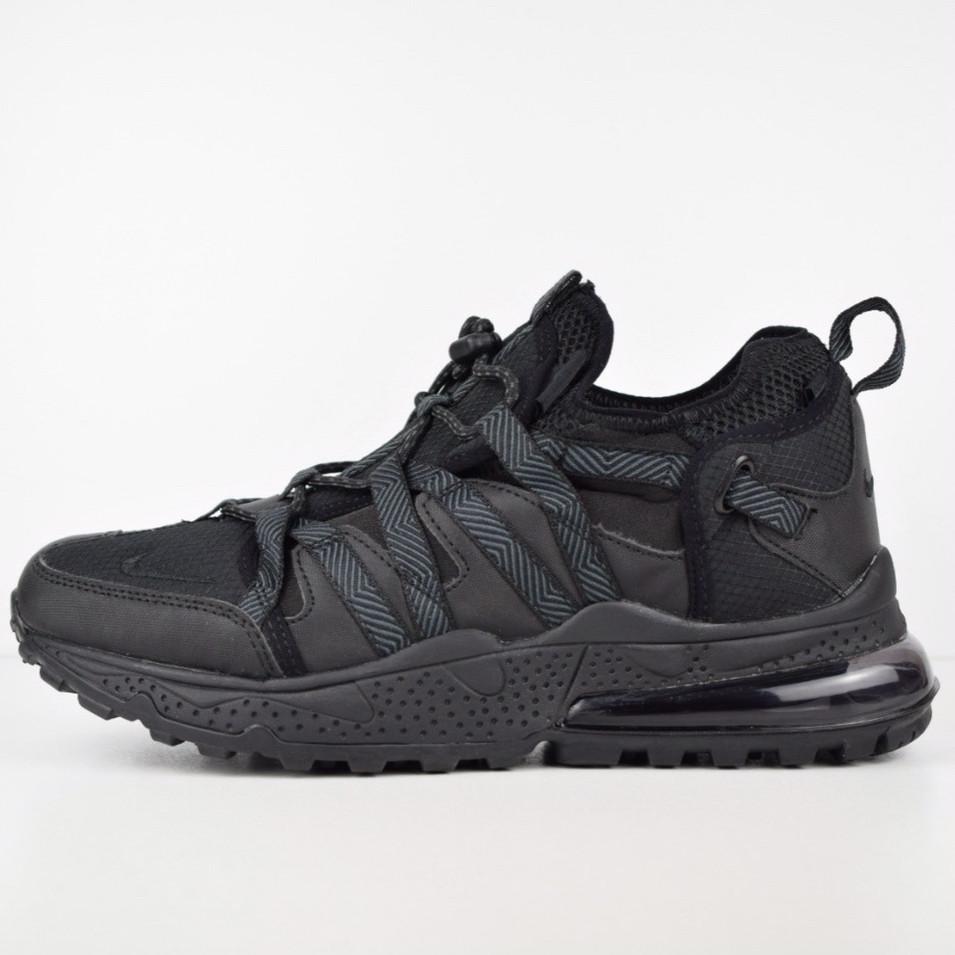 Теплые мужские кроссовки Nike 270 низкие (МЕХ) черные (Top replic)