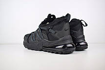 Теплые мужские кроссовки Nike 270 низкие (МЕХ) черные (Top replic), фото 2