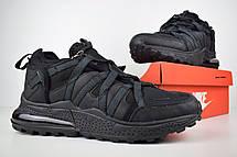 Теплые мужские кроссовки Nike 270 низкие (МЕХ) черные (Top replic), фото 3