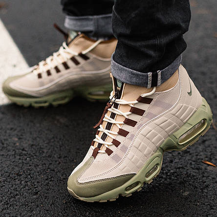 Теплые мужские кроссовки Nike Air Max 95 SneakerBoot бежевые-коричневые (Top replic), фото 2