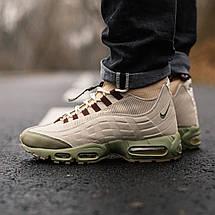 Теплые мужские кроссовки Nike Air Max 95 SneakerBoot бежевые-коричневые (Top replic), фото 3