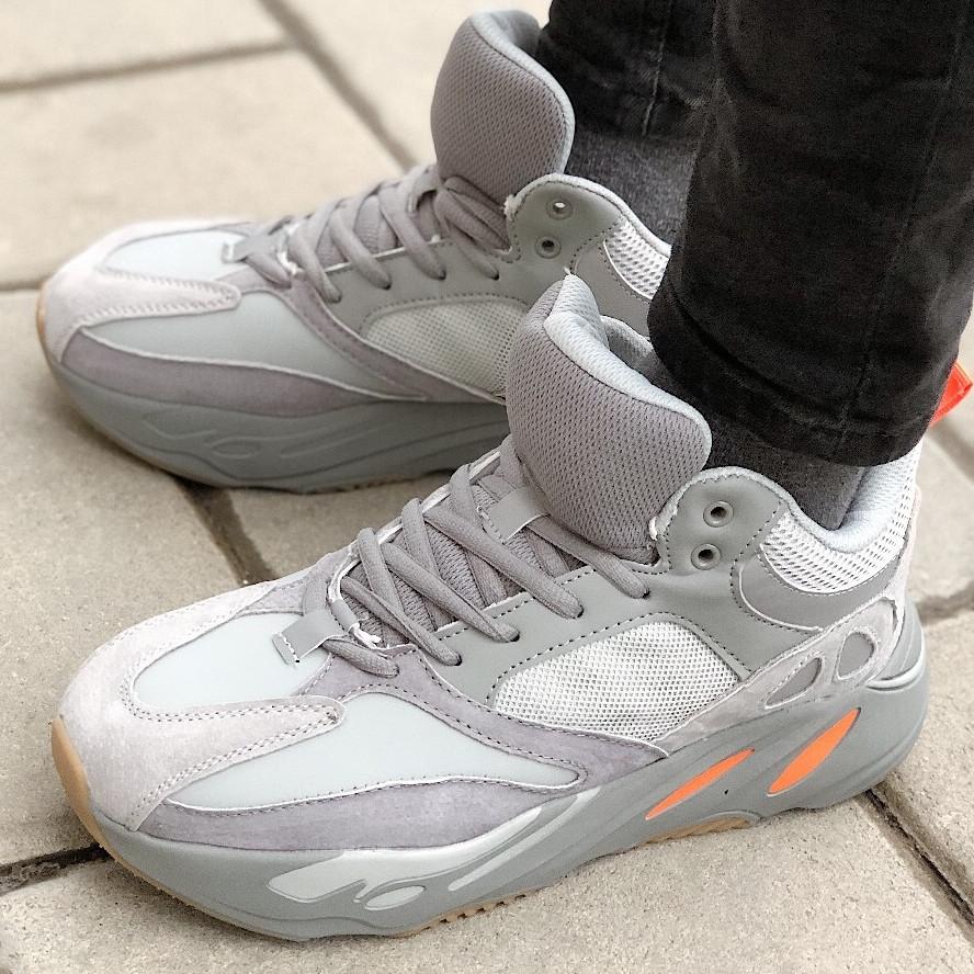 Теплые мужские кроссовки Adidas Yeezy Boost 700 (МЕХ) серые (Top replic)